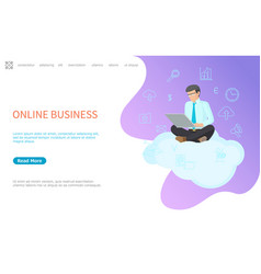 Online business web poster man sitting on cloud vector