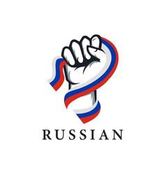 patriotic spirit rising hand russia flag vector image