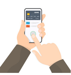 Payment page and credit card on smartphone screen vector