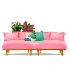 pink color sofa with pillows and potted flowers vector image