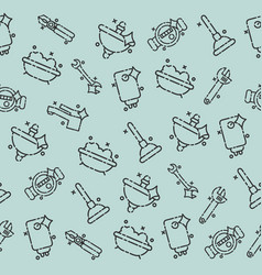 plumbing concept icons pattern vector image