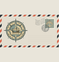 postal envelope with stamp on theme travel vector image