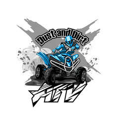 Quad bike off-road atv logo dust and dirt vector