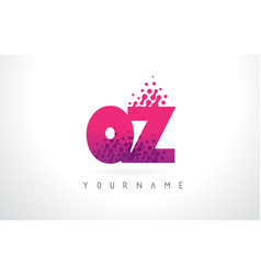 qz q z letter logo with pink purple color and vector image