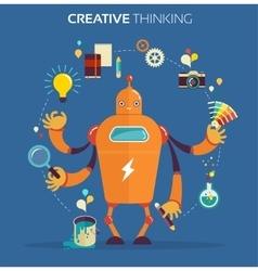 Robot graphic designer - creative thinking vector