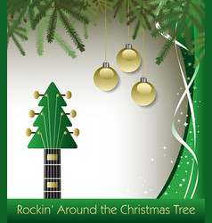 Rockin around the christmas tree guitar background vector