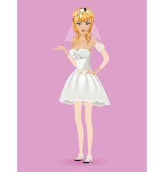 Romantic cartoon bride3 vector