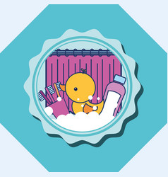 Rubber duck toothbrushes and shampoo banner vector