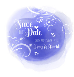 Save the date floral watercolour design vector