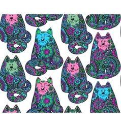 Seamless pattern with hand drawn colorful cats vector image
