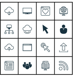Set of 16 internet icons includes team program vector