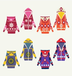 Set of female winter cardigans vector