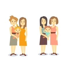 Set of happy gay LGBT women families with children vector