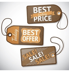 Set of retail cardboard sale tags vector