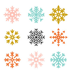 set snowflakes new year and winter vector image
