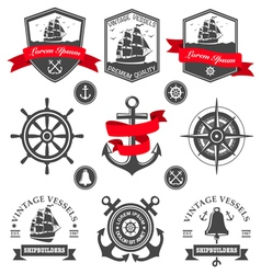 set vintage nautical labels and icons vector image