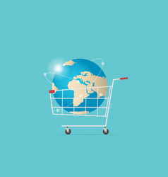 Shopping cart with world globe digital online vector