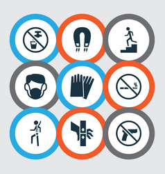 Sign icons set with dust mask no smoking danger vector