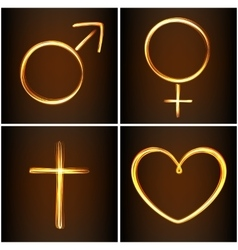 Silhouettes symbols heart Venus Mars and cross vector image