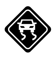 Slippery road traffic signal icon vector