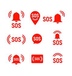 sos icon emergency alarm button sign symbol vector image