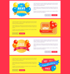 special discount weekend sale best balloons label vector image