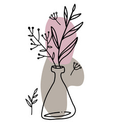 Spring flowers in vase continuous line art vector