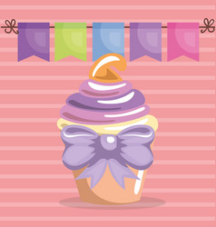 sweet and delicious cupcake with bowtie birthday vector image