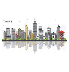 Taipei taiwan city skyline with gray buildings vector