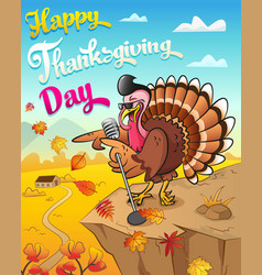 Thanksgiving greeting card with singing turkey vector