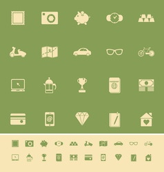 The useful collection color icons on green vector image