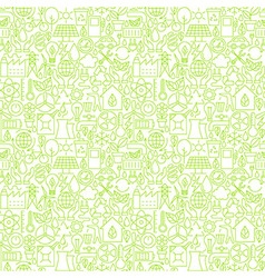Thin Line Go Green Ecology White Seamless Pattern vector
