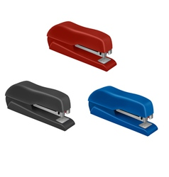Three colorful staplers vector