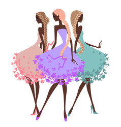 Three silhouette girls with braids vector image