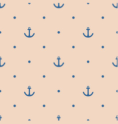 Tile sailor pattern with navy blue anchor and dots vector