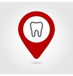 Tooth map pin icon vector image
