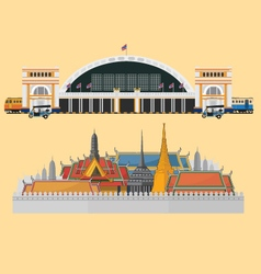 train station and palace in bangkok vector image