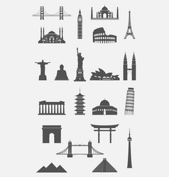 travel landmarks icon set vector image