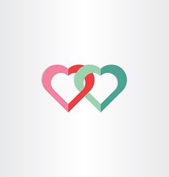 Two green and red hearts symbol vector