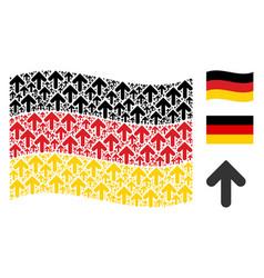 Waving german flag pattern of arrow direction vector