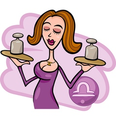 woman cartoon libra sign vector image