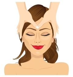 woman enjoying relaxing facial massage treatment vector image