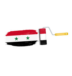 brush stroke with syria national flag isolated on vector image vector image