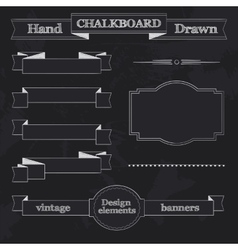 Chalkboard Style Banners Ribbons and Frames vector image