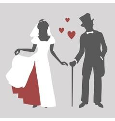 Bride and groom in retro style vector