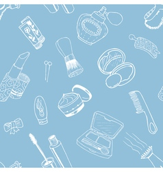 pattern with cosmetic objects vector image