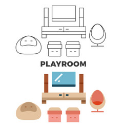 playroom concept - flat and line style room design vector image vector image