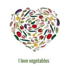 Shape heart made of fresh vegetables vector image