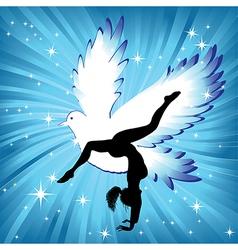 Woman in yoga bird asana sport vector image vector image