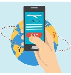 Booking online flights travel vector image vector image